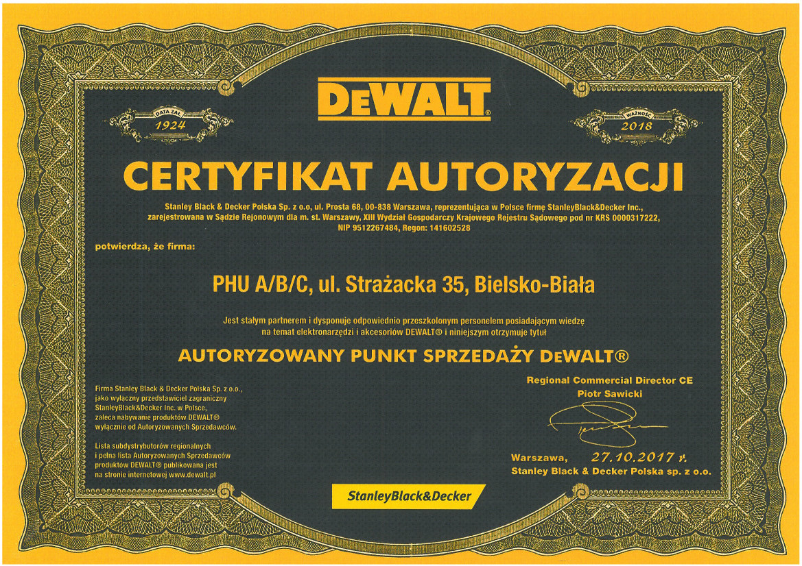Certyfikowany punkt sprzedaży DeWalt - ABC